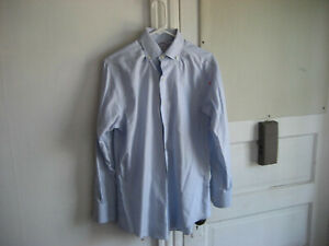 Brooks Brothers Mens Shirt, Size 15, Light Blue Ground with Blue and Brown Line