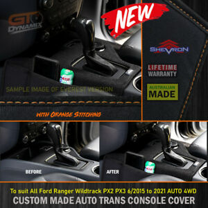 Shevron Transmission Console Cover RANGER Wildtrack PX3 Orange Stitching 2015-21