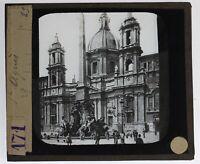 Italia Roma Navona Foto n24 Placca Da Proiezione Lanterna Magica
