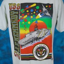 vintage 80s Uss John F. Kennedy Cv-67 Ship Rainbow Sunset T-Shirt M/L navy thin