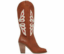 Jessica Simpson Caralee Luggage Brown Stud Leather Cowboy Western Boots $198 10