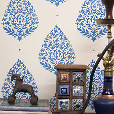 Sari Paisley Allover - Sturdy and Reusable Wall Stencil - Indian Wall Designs