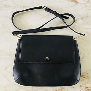 TORY BURCH Solid Black Leather Crossbody Bag