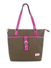 PINK LEATHER TRIM LARGE CANVAS TOTE STRIPED