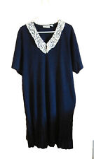 Elisabeth Liz Claiborne dress navy blue lace collar cotton size 2 vintage