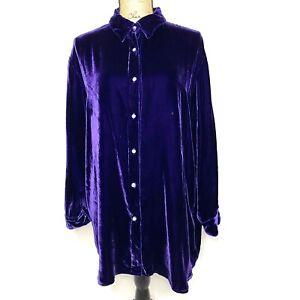 Soft Surroundings Velvet Tunic L Purple Long Sleeve Button Up Shirt