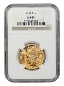 1932 $10 NGC MS65 - Indian Eagle - Gold Coin - Wonderful Gem Type Coin