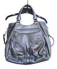 COLE HAAN HANDBAG HOBO Vintage Silver Soft Leather Purse