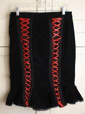 TRIPP Black Stretch Cotton Velvet Lace Ribbon Corset Pencil Pin Up Skirt S