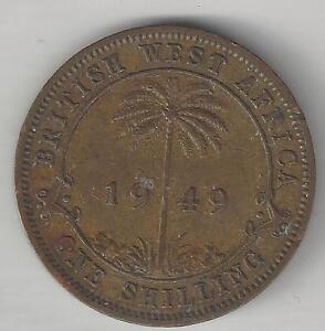 WEST AFRICA, BRITISH, 1949, SHILLING,  TIN-BRASS, KM#28, EXTRA FINE  (001)