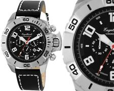 Chronograph Herren Armbanduhr Silber/Schwarz Lederarmband von ENGELHARDT 269 UVP