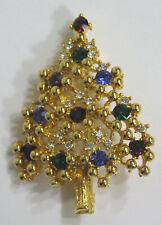 Vintage Jewelry Eisenberg Christmas Tree Brooch Beautiful Rhinestones Goldtone