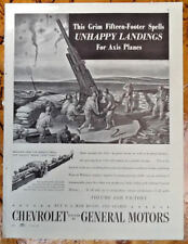 Chevrolet GM auto ad 1943 original vintage 1940s war WWII planes army soldiers