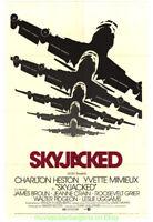 SKYJACKED MOVIE POSTER 7x41 Folded CHARLTON HESTON Awesome JETLINER ART!!!!