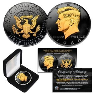 1964 BU Silver JFK Half Dollar 2-Sided BLACK RUTHENIUM & 24K Gold Highlights BOX