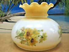 White Glass Shade With Fancy Ruffled Top And Flowers For Kerosene Oil Lamps