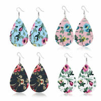 Women Floral Print Leather Teardrop Earrings Drop Hook Dangle Fashion Jewelry