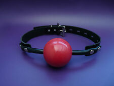 Vendita Nuovo Vera Pelle Nera Grande 63 mm Rosso Cinturino di bloccaggio Ball Gag BallGag