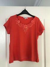 Ladies Orange Ribbed Embroidered V Neck T-Shirt - Signature, Size S
