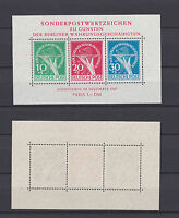 GERMANY BERLIN 1949 Charity Stamps Mint ** 9NB1-9NB3 (Mi.68-70 (block1))