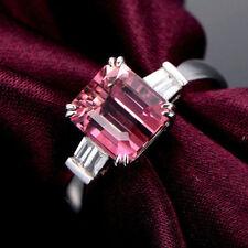 18ct White Gold Stunning Natural Pink Tourmaline & Diamond Ring VVS