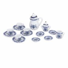 15pcs 1/12 Dollhouse Miniature Dining Ware Porcelain Tea Set Tea Pot K5O2