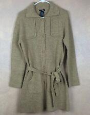 Kenzie Goldish Gray Belted Acrylic Cardigan Sweater Size Large