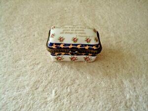 """Vintage Imperial Porcelain """" Put Your Hope In God """" 1 Timothy 6:17 Trinket Box"""
