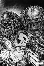 PREDATOR VS JUDGE DREDD VS ALIENS #4 ALIEN BLACK & WHITE COVER