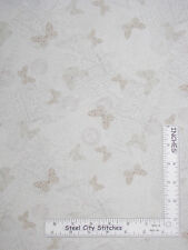Butterfly Writing Cream Cotton Fabric Timeless Treasures Fleur C5524 By The Yard