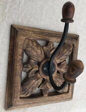 MANGO WOOD SINGLE HOOK Coat Rack Cottage Style Handmade with Cast Iron