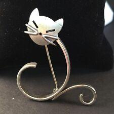 Vintage 1960s Beau Sterling Silver Figural Modernist Cat Kitten Pin Brooch Euc