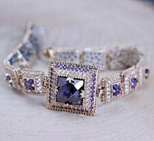 925 Sterling Silver Handmade Authentic Turkish Amethyst Ladies Bracelet