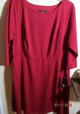 AGB LADIES DRESS SIZE 14W RED TEXTURED FABRIC NWT
