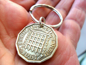 60th Birthday gift 1961 brass threepenny coin keyfob gift for a man or woman