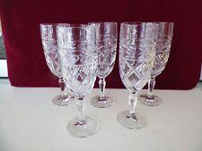 New listing Set Of 5 Vintage Glass Stemmed Wine Goblets 7' Tall