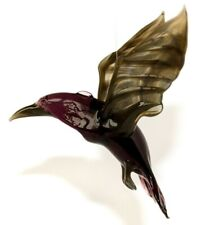 Raven Glass Figurine, Blown Art, Black and Violet Bird Ornament