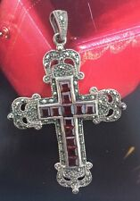 "Handmade Vintage Cross Pendant Holy Crucifix Gemstone Sterling Silver 3"" X 2"""