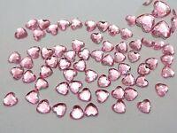 500 Pink Acrylic Faceted Heart Flatback Rhinestone Gems 6X6mm