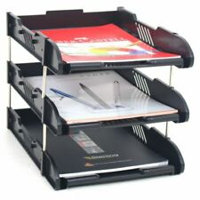 Stackable 3 Tier Office Filing Trays A4 Document Desk Riser Letter Paper Storage