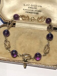 Vintage 14ct Yellow Gold And Amethyst Bead Bracelet
