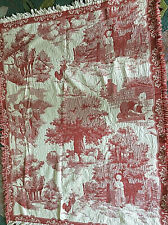Vintage Signed Reversible Coverlet Woven Tapestry Throw Blanket Fringed Cotton