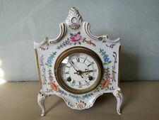 German Dresden Floral Porcelain Mantel Clock -Collector Piece