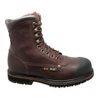 "AdTec Men's   9725 8"" Steel Toe Work Boot Dark Brown Full Grain Tumbled Leather"
