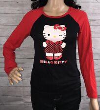 Sanrio Hello Kitty Shirt Red and Black Raglan Style Tee School Girl Top - Small