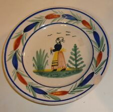 Old French Quimper Henriot Hb plate from Brittany, signed Hb Quimper