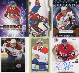 MONTREAL CANADIENS Lot of 10 hockey cards includes Autograph & Memorabilia cards