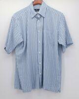 Bugatchi Uomo Men's Blue Black Striped Shirt s/s  Medium