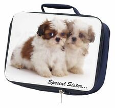 'Special Sister' Shih-Tzu Dogs Navy Insulated School Lunch Box Bag, AD-SZ10LBN