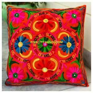 Embroidery Suzani Cushion Cover Indian Cotton Uzbek Pillow Cases Decorative Home